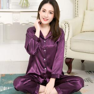 Men Women Silk Satin Pajamas Set Couple Sleepwear Lovers Unisex Nightwear Plus