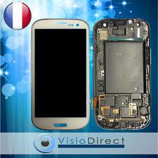Ecran vitre complet sur chassis pour Samsung Galaxy S3 i9300 blanc