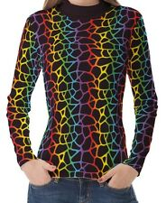 Multicolour Rainbow Giraffe Women High Neck Turtleneck Tops Pullover Shirts