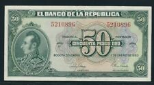 COLOMBIA BANKNOTES $50 1953 7 DIGITS