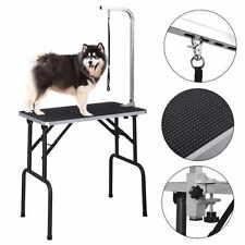 """Table de toilettage pour les animaux réglable portable 46"""" noir"""