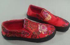 Vans Slip On Festival Silk Floral Red Womens Sz 7 Mens Sz 5.5   Low Flat Shoes