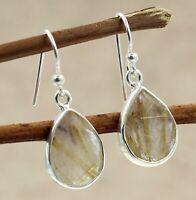 Golden Rutile Gemstone Daily Wear Gift Earring Solid 925 Sterling Silver Jewelry