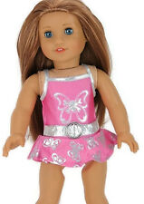 """Pink & Silver Swimsuit w/Decorative Belt made for 18"""" American Girl Doll Clothes"""