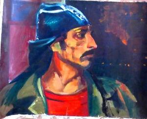 "1985 Socialist Realism OIL Painting ""FACTORY WORKER"" Soviet Russian ARMENIAN art"