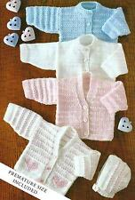 7a2c27506afb Baby Knitting Patterns 4ply Cardigans and Bonnet with Heart Motif 14-22