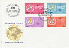 Schweiz  FDC Ersttagsbrief 1975 OMS/WHO Emblem Mi. 36-39