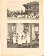 Japan Tokyo Hospital Red Cross Nurse Japon FRANCE GRAVURE ANTIQUE OLD PRINT 1894