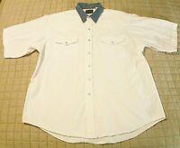 Plains Western Wear Shirt Mens XL Pearl Snaps White with Blue Denim Collar