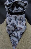Self tie Grey & Navy Paisley Cotton Riding Stock & Scrunchie - Event Hunting