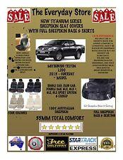 Mitsubishi Triton 2015-2017 Titanium Sheepskin Seat Covers AO BTM Pr ABAG 35MM
