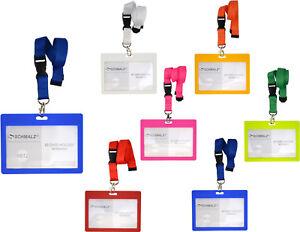 Set Kartenhülle mit Lanyard  Schlüsselband Ausweishülle Querformat  Werksausweis