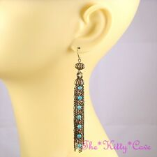 Vintage Deco Burnt Gold Ethnic Gypsy Statement Tassel Earrings w/ Turquoise Gems