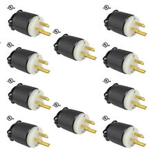 10 Pack - 515PR Plug, 5-15P 15A 125V Straight Blade Male Plug, Heavy Duty Nylon