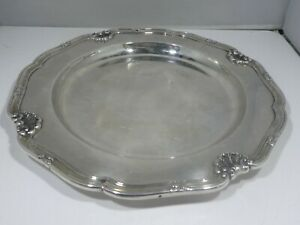 VINTAGE PORTUGESE  SCALLOPED 830 SILVER PLATTER 20.35 TROY OUNCES