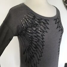 Rock And Republic Womens Long Sleeve Shirt With Wings And Rhinestones Sz Small