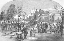 LANCS. Curling, at Croxteth Hall, antique print, 1853