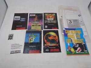 Game Manual Lot SNES Console Manuals - Mario, Mortal Kombat, Brain Lord, Tecmo