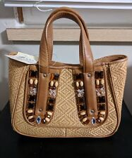 Cole Haan Straw Leather Handbag With Gems & Beads