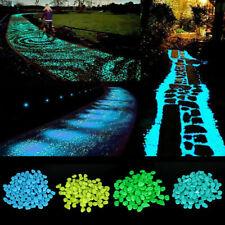 300PCS Garden Luminous Pebble Glow In The Dark Stones Rocks Walkways Aquatiums