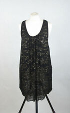 P454/23 All Saints  Mini Black Silk Dress Decorated with Sequins, size 10