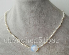 nice cultured mini 2-3mm white Baroque pearl & coin opal necklace 17 inch