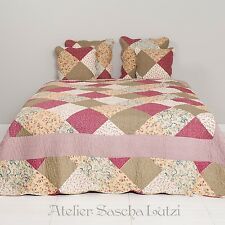 Clayre & Eef Quilt Patchwork Look Bedspread Bed Cover 140cm x 220cm Cottage