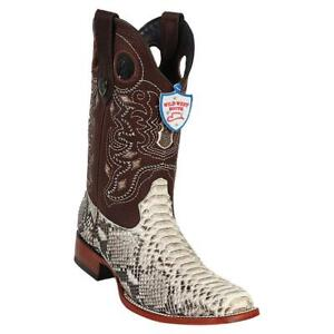 Men's Wild West Natural Python Square Toe Boots Handcrafted