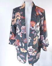 Harlowe Graham Easy Blazer Jacket Green Floral Printed Open Front Women's Sz L