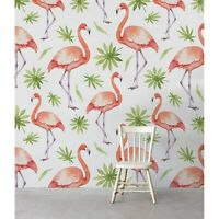 Leafs Flamingo Birds removable wallpaper abstract painting delicate peel & stick