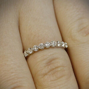 New Year Gift 0.50 Ct Real Diamond Engagement Band Solid 18K White Gold Size M P
