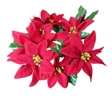 """(3 Pc) Red Poinsettia Small Candle 5"""" Ring Christmas Holiday Flower Decor"""
