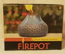 New listing New Birdbrain Outdoor/Garden Hand Glazed Firepot Deep Turquoise / Teal Glazed