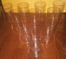 Pink depression glass cups with grape etch. Set of 10.