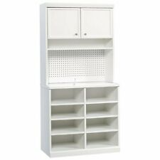 Sauder Craft Pro 8 Cubby Open Storage Cabinet with Hutch in White