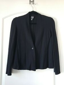 Eileen Fisher Wool Cardigan Jacket Petite Medium Black One Button  #1943 EUC