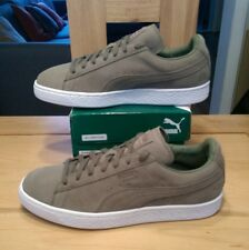 MENS PUMA SUEDE (CITY MILAN) TRAINERS. SIZE 11 BURNT OLIVE/FOREST NIGHT/WHT