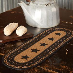 "VHC Brands Primitive 24""x8"" Stars Table Runner Black Jute Kitchen Table Decor"