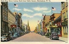 VINTAGE UNUSED POSTCARD - MARTINSBURG, W VA. NORTH KING ST. PUBLIC SQUARE
