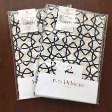 2 Yves Delorme Entrela Marine Boudoir Pillow Shams Egyptian Combed Cotton France