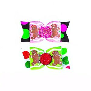 Dog Hair Bows- Christmas Cookies Gingerbread Pet Bow Topknot Bow