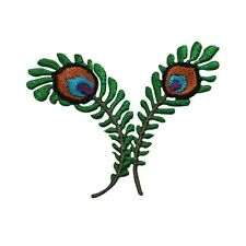 ID 7254 Two Joined Peacock Feathers Bird Iron On Embroidered Patch Applique