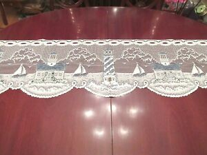 Heritage Lace LIGHTHOUSE Valance Nautical Maritime Motif Shoreline New