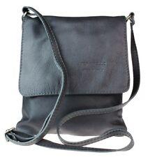 Genuine Soft Leather Italian Cross Body Shoulder Bag Flap ZIPPED Messenger Black