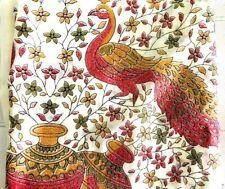 """Nice Indian Beautiful Sparkling Sari Saree Fabric Gold Peacock 200"""" or 5.5 Yards"""