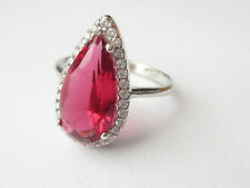 925 Sterling Silver Ruby  Turkish Handmade Drop Faceted Ring Sz 8
