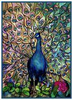 Art Nouveau Muted Peacocks Glory Tiffany Counted Cross Stitch Pattern