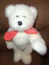 Bear White Jointed Red Polka Dot Tie Stuffed Plush Teddy