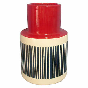Threshold Short Stoneware Hand-painted Americana Vase Blue Red