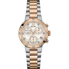 Bulova 19 Diamonds Women's Chronograph Rose Gold Silver Tone Steel Watch 98W210